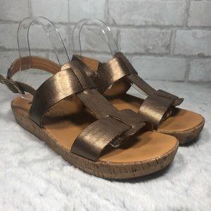 Glittered Gold Bronze T-Strap  Cork Sandals